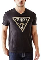 GUESS Men's Bordeaux Logo V-Neck Tee