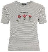 Topshop 'no romance' slogan stripe t-shirt