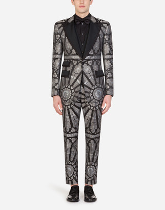 Dolce & Gabbana Jacquard Casino Tuxedo Suit With Stained Glass Window Style Print