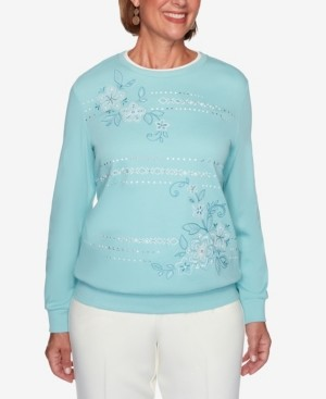 Alfred Dunner Women's Plus Size St. Moritz Embroidered Floral Biadere Top