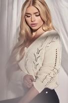 NA-KD Pamela X Deep V-Neck Lace Stitch Sweater Black