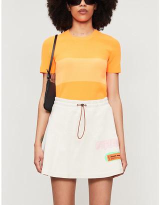 Heron Preston Graphic-print high-waist cotton-jersey mini skirt