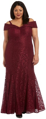 R & M Richards R&M Richards Shimmer-Lace Gown