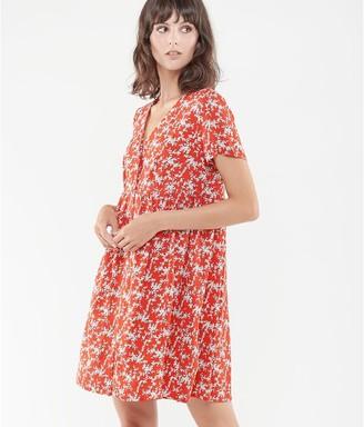 Le Temps Des Cerises Floral V-Neck Mini Dress with Short Sleeves