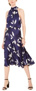Adrianna Papell Tossed Leaves Midi Dress
