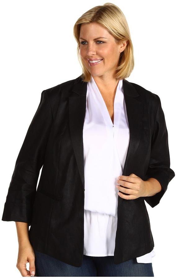 Klein Plus Anne Plus Size Glazed Linen Shirt Jacket (Black) - Apparel