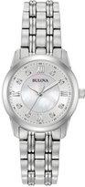 Bulova Women's Dress Diamond Accent Stainless Steel Bracelet Watch 30mm 96P179