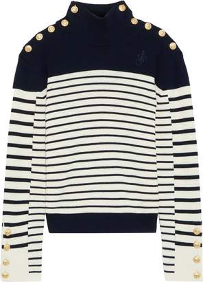 J.W.Anderson Button-detailed Striped Intarsia Wool Turtleneck Sweater