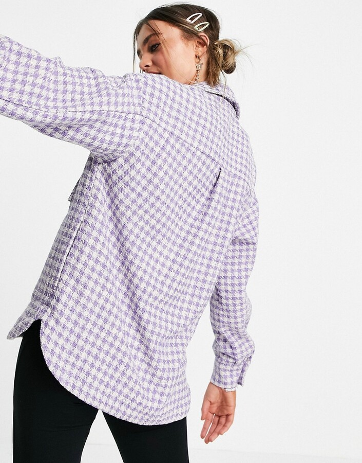 Thumbnail for your product : Pimkie gingham shacket in lilac