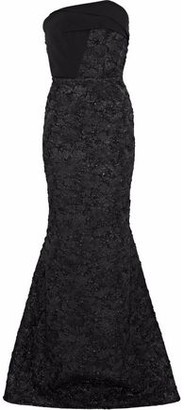 Roland Mouret Kinlet Strapless Crepe-paneled Metallic Cloque Gown