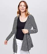 LOFT Petite Striped Hooded Drawstring Cardigan