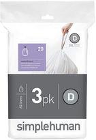 Simplehuman 60 Pack Custom-Fit Trash Can Liner-Code D