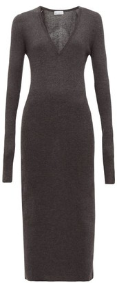 Raey Deep-v Fine-rib Cashmere Dress - Womens - Charcoal