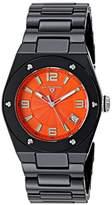 Swiss Legend women's Quartz Watch with Orange Dial Analogue Display and Black Ceramic Bracelet SL-10054-BKOTSA