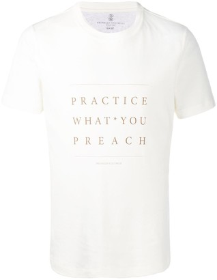 Brunello Cucinelli White Slogan T-Shirt
