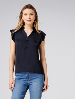 Forever New Autumn Ruffle Blouse - Navy - 6