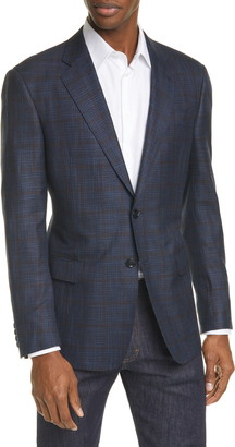 Giorgio Armani Trim Fit Windowpane Melange Sport Coat