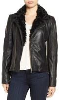 Badgley Mischka 'Irina' Leather Moto Jacket with Genuine Shearling Collar