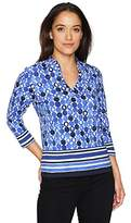 Ruby Rd. Women's Petite Size Embellished Funnel Neck Geo Printed Top