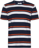 Topman Navy and Orange Stripe T-Shirt