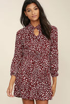 BB Dakota Jamila Wine Red Print Dress