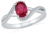 1/20 CT.T.W White Diamond & Round Created Ruby Prong Set Swirl Fashion Ring in Sterling Silver