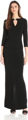 Marina Women's Dress with Sleeves Center Front and Back Keyhole. Shirring at Sides and Neck Hardware