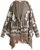 See by Chloe Fringed floral and geometric-jacquard cardigan