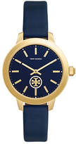 Tory Burch Collins Leather Strap Watch, Navy/Golden