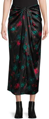 Ganni Floral-Print Stretch-Silk Midi Skirt