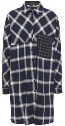 McQ Paneled Checked Flannel Mini Shirt Dress