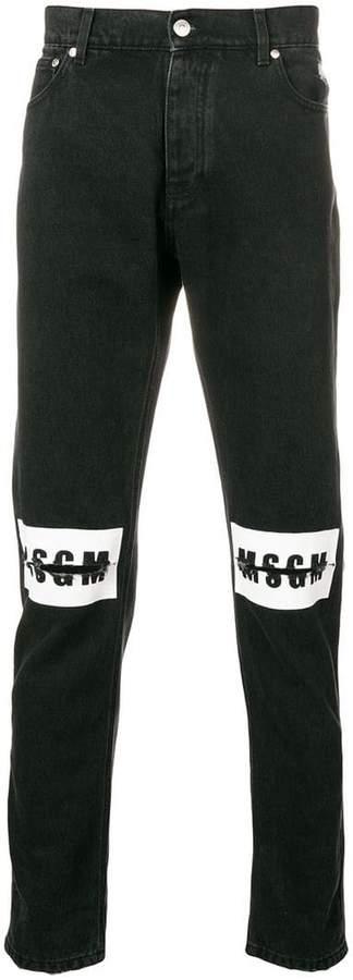 MSGM ripped logo jeans