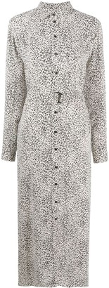 Kenzo Leopard Print Belted Shirt Dress