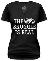 Goodie Two Sleeves Black 'The Snuggle Is Real' V-Neck Tee - Plus