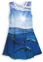 Urban Smalls Blue Dolphins Sublimated Sleeveless Dress - Toddler & Girls