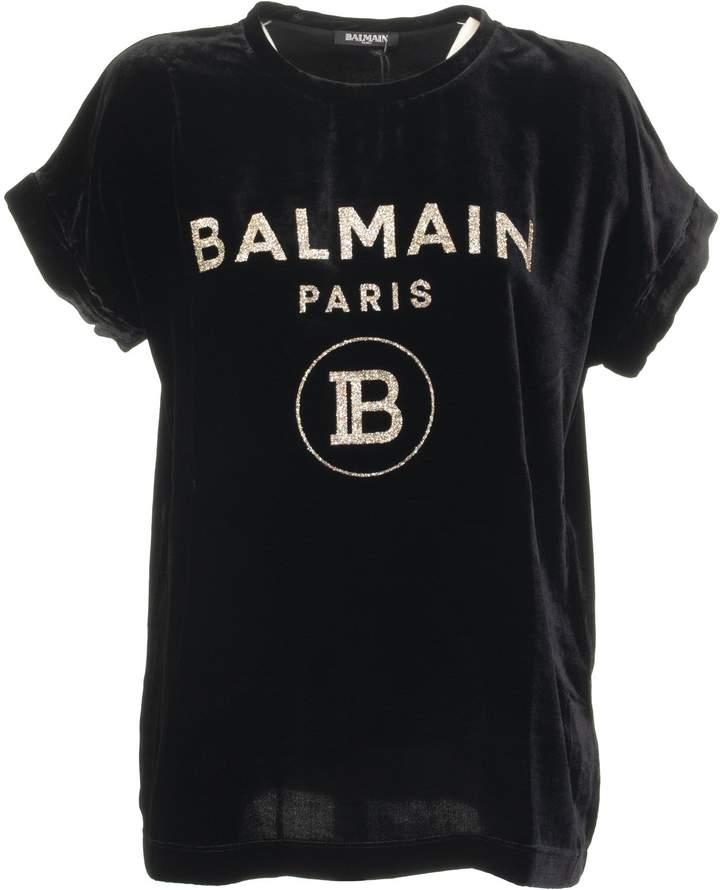 13b19755d4 Black Velour T-shirt With Rhinestone Logo