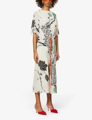 Victoria Victoria Beckham Floral-print crepe midi dress