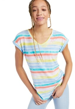 Style&Co. Style & Co Stay Golden Striped Graphic T-Shirt, Created for Macy's