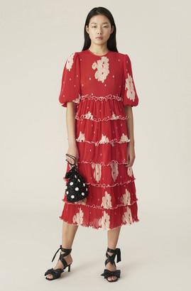 Ganni Pleated Georgette Maxi Dress