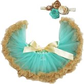 Petitebella Aqua Gold Baby Skirt Tutu Girl Clothing with Headband Set 3-12m