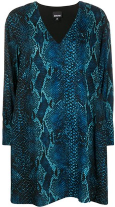 Just Cavalli snakeskin print V-neck dress