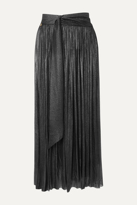 Elena Makri - Delfis Asymmetric Pleated Metallic Silk-tulle Midi Skirt - Silver