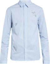 J.W.Anderson Snail-appliqué striped cotton shirt