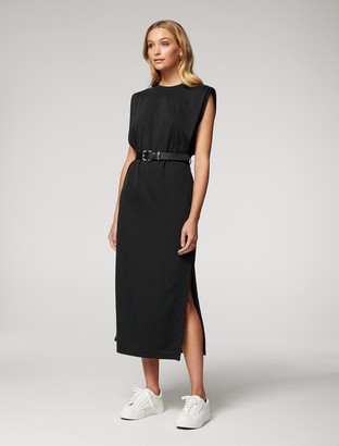 Forever New Zoe Extended-Shoulder Column Dress - Black - 10