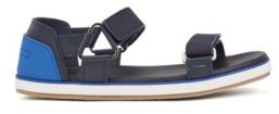 HUGO BOSS Italian Made Leather Sandals With Touch Fastening Straps - Dark Blue