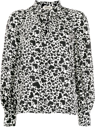 Zadig & Voltaire Heart print two tone blouse