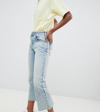 Asos DESIGN Petite Egerton rigid cropped flare jeans with darts in light vintage wash-Blue