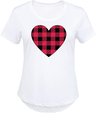 Instant Message Plus Women's Tee Shirts WHITE - White & Red Plaid Heart Scoop Neck Tee - Plus