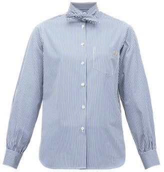 Hillier Bartley Tie-neck Striped Cotton Shirt - Navy Stripe