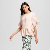 Who What Wear Women's Fabric Mix Ruffle Top